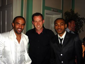 At Winchester House, Putney, London. DJ Jason Dupuy with Craig David and Kano after performance together.