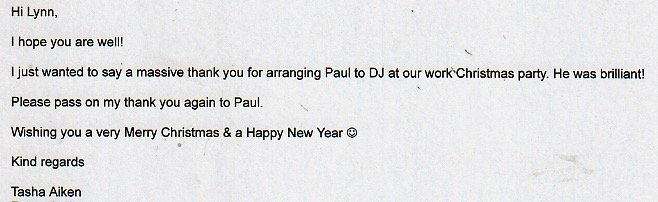 At a Christmas Party in Hertfordshire with DJ Paul Kennedy.