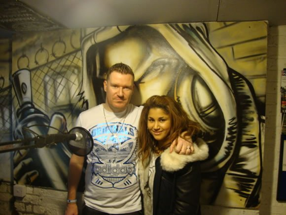 DJ Jay Q at the Radio Studio in London with Baby Blue playing Hip Hop
