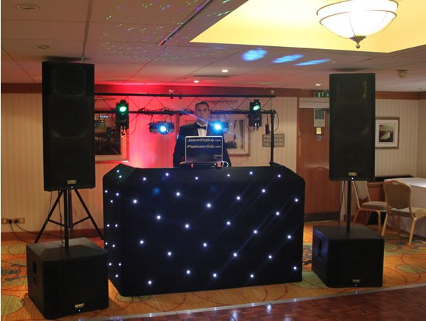 H&S LED Starcloth DJ Booth with Goal Post Lighting Stands