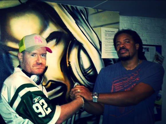Grammy winner and public Enemy producer Burt Blackarach with DJ Jay Q performing at a Club in London