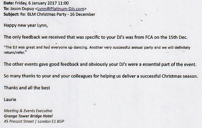 Grange Hotel in London left a good review for Platinum DJs