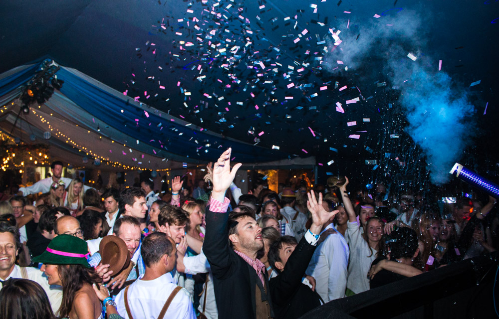 DJ Hire London - Jason Dupuy sets off a confetti canon at the Marmalade Ball.