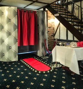 Chesterfield photo booth at a wedding provided by Platinum DJs in Kent.