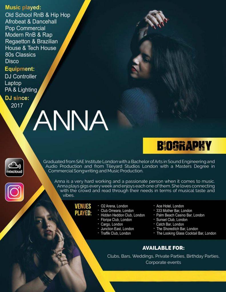 DJ Anna is a female Italian Club DJ